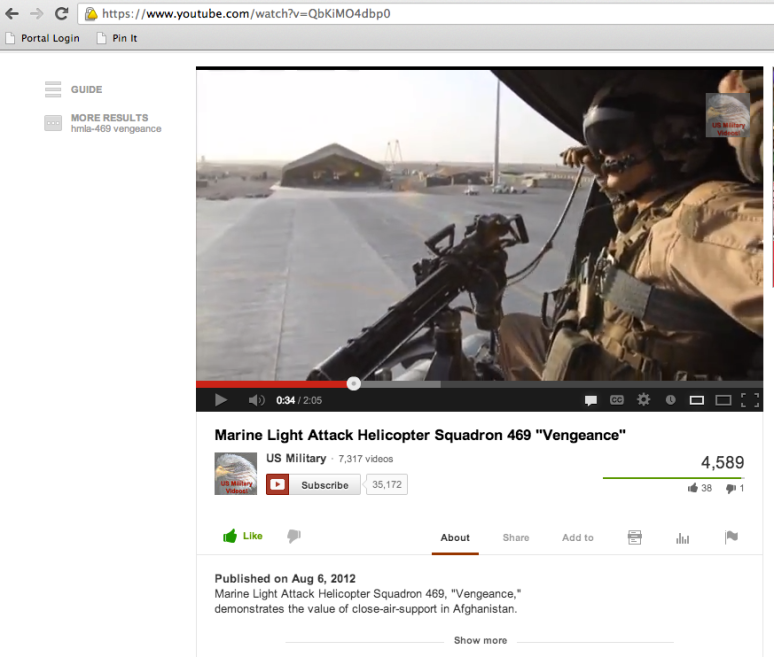 HMLA-469 Vengeance video with 4,000+ views on independent YouTube channel.